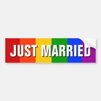 JUST MARRIED GAY BUMPER STICKER