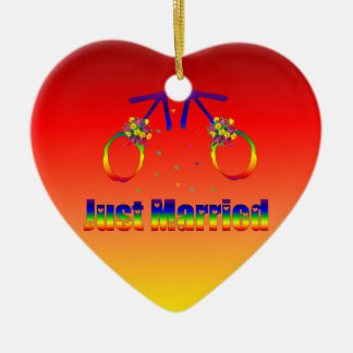 Just Married Gay Men Ceramic Ornament