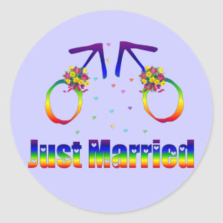 Just Married Gay Men Classic Round Sticker