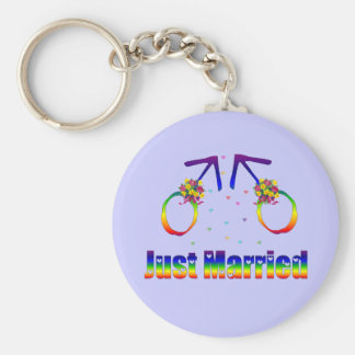 Just Married Gay Men Keychain