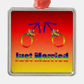 Just Married Gay Men Metal Ornament