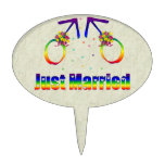 Just Married Gay Men Oval Cake Topper