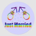 Just Married Gay Men Round Stickers