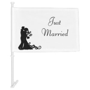 Just Married Get Away Car Flag
