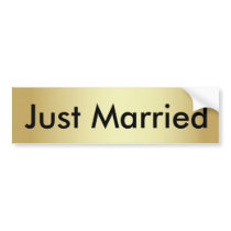 Just Married Gold Bumper Sticker with Black Text