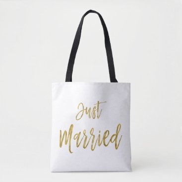Beach Themed Just Married Gold Foil Bride Beach Bag