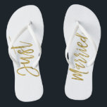 "Just Married Gold Foil Bride Flip Flops<br><div class=""desc"">Just Married Faux Gold Foil Typography Bride Beach or Destination Wedding Flip Flops</div>"