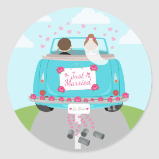 Just Married Green, Blue Turquoise Wedding Classic Round Sticker