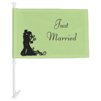 Just Married Green Car Flag