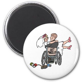 Just Married (Groom Wheelchair) 2 Inch Round Magnet