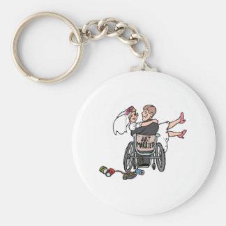 Just Married (Groom Wheelchair) Basic Round Button Keychain
