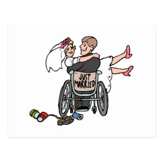 Just Married (Groom Wheelchair) Postcard