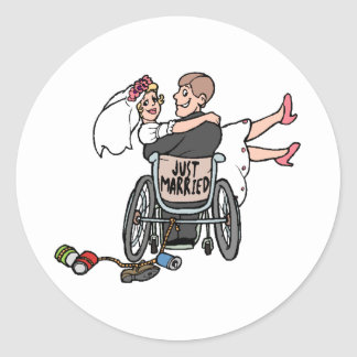 Just Married (Groom Wheelchair) Classic Round Sticker