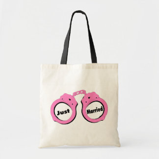 Just Married Handcuffs Tote Bag