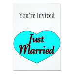 Just Married Heart 5x7 Paper Invitation Card