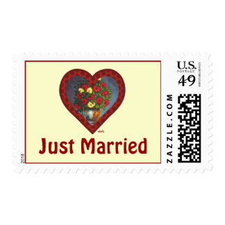 Just Married Heart and Flowers Painting Stamp