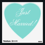 """Just Married! - heart decal<br><div class=""""desc"""">Wouldn&#39;t this look great on the honeymoon car? Or on a window at home? Or perhaps as decoration for a reception! ***You can change the background color,  as well as the color and font of the writing.</div>"""