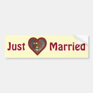 Just Married Heart Flowers Bumper Sticker