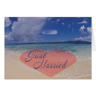 Just Married Heart On The Beach Card