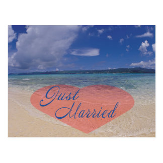 Just Married Heart On The Beach Post Cards