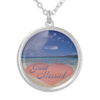 Just Married Heart On The Beach Silver Plated Necklace
