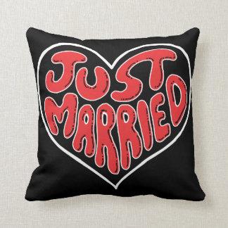 Just Married Heart Wedding Pillow