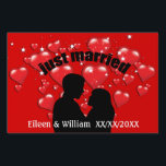 """Just Married Hearts Lotta Love Custom Yard Sign<br><div class=""""desc"""">A graphic red heart illustration by artist/designer Charmaine Paulson on a Just Married yard sign.</div>"""