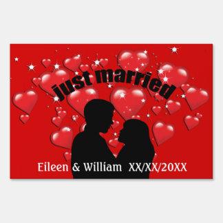 Just Married Hearts Lotta Love Custom Yard Sign