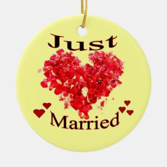 """""""Just Married"""" Hearts Ornament"""