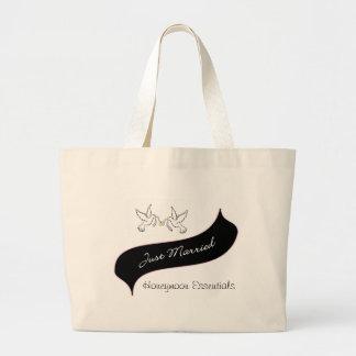 Just Married Honeymoon Essentials Large Tote Bag