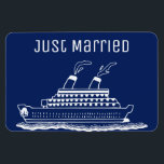 """Just Married Honeymoon Wedding Cruise Cabin Door Magnet<br><div class=""""desc"""">Perfect magnet for newlywed or those just married and traveling on a wedding honeymoon cruise. Cruise ship cabin door marker to help find your stateroom. Background  blue color can be changed to match your wedding color(s). Fun wedding gift for the newly married couple.</div>"""