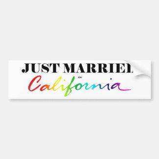 Just Married in California Pride Bumper Sticker Car Bumper Sticker
