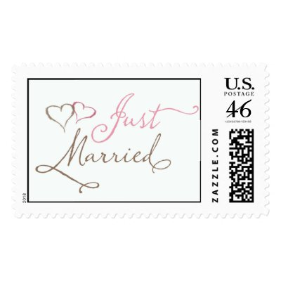 Just Married in chocolate and pink Stamps