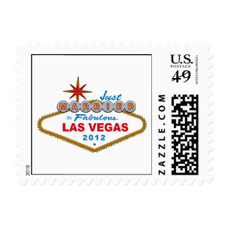 Just Married In Fabulous Las Vegas 2012 Vegas Sign Postage Stamps