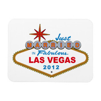 Just Married In Fabulous Las Vegas 2012 Vegas Sign Magnet