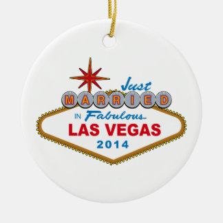 Just Married In Fabulous Las Vegas 2014 (Sign) Ceramic Ornament