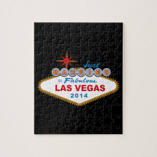 Just Married In Fabulous Las Vegas 2014 (Sign) Jigsaw Puzzles
