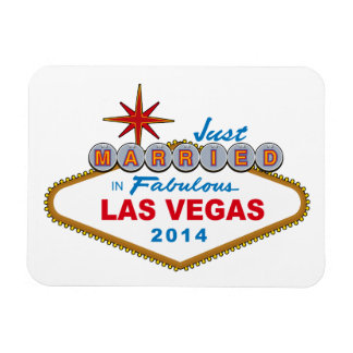 Just Married In Fabulous Las Vegas 2014 (Sign) Rectangular Photo Magnet