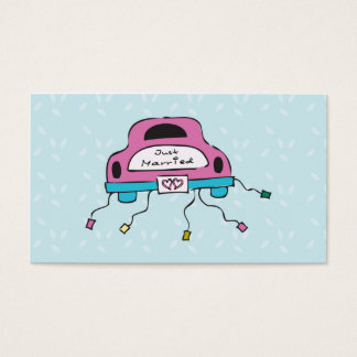 Just Married in Pink and Blue Business Card