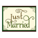 Just Married in swirl fun font Postcard
