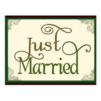 Just Married in swirl fun font Postcard