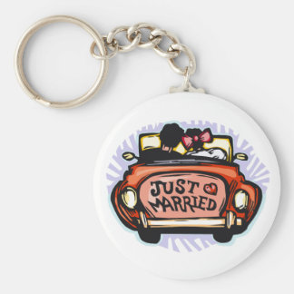 Just Married Jalopy Basic Round Button Keychain