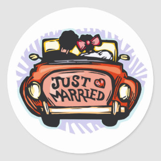 Just Married Jalopy Classic Round Sticker