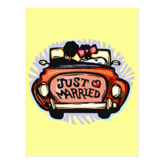Just Married Jalopy Postcard