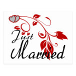Just Married Joined Hearts Floral Vines Postcard