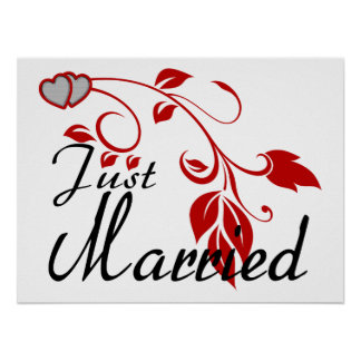 Just Married Joined Hearts Floral Vines Poster
