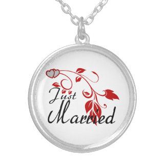 Just Married Joined Hearts Floral Vines Silver Plated Necklace