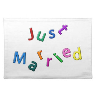 Just Married Jumbled Letters Cloth Placemat
