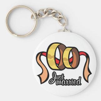 Just Married Keychain Basic Round Button Keychain