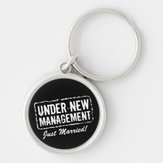 Just Married keychain | Under new management stamp